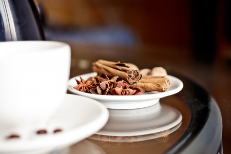 Spices for coffee on white plate (cinnamon, anise star and nutmeg) photo