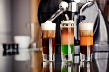 three layer:  Shot Cocktails with coffee liqueur and cream