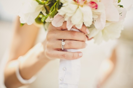 Close up of brides hands with flowers