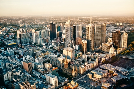 panorama view: Aerial view of Melbourne city - Victoria - Australia Stock Photo