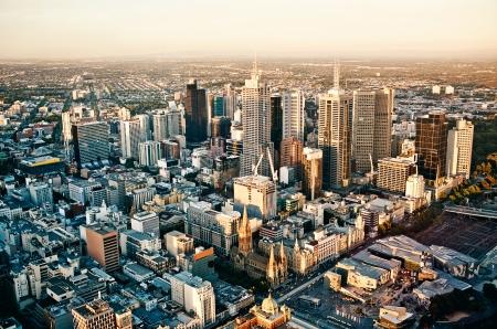australia landscape: Aerial view of Melbourne city - Victoria - Australia Stock Photo
