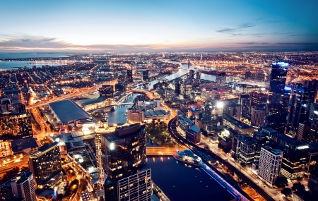 A view of Melbourne at night, Victoria, Australia