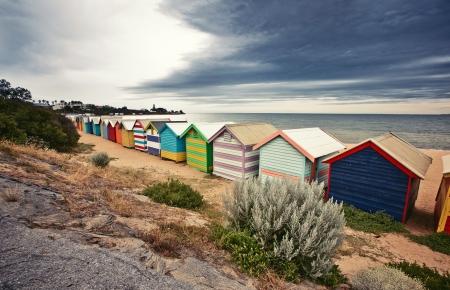 Brighton Bay Beachhouses in Melbourne stad, Australië Stockfoto