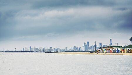 brighton beach: Brighton Bay Beachhouses in Melbourne city, Australia Stock Photo