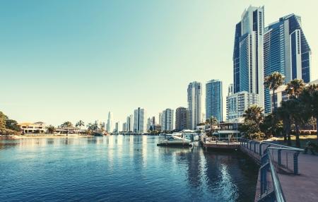 australia beach: City Gold Coast, Queensland, Australia. The city is well-known as luxury resort in Australia