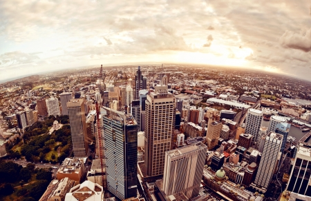 australia landscape: Aerial view of downtown Sydney at sunset, Australia. Stock Photo