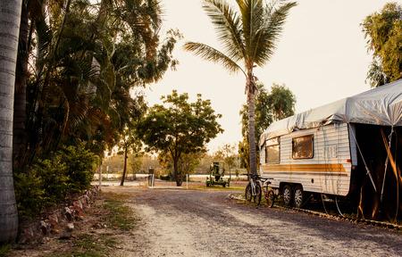 camper: Modern caravan in a camping in Australia Stock Photo