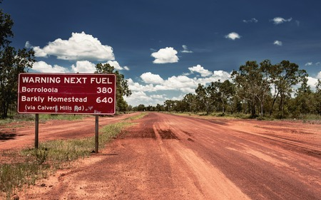 northern nature: Road sign in Northern Territory road, Australia Stock Photo