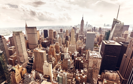 Skyline van New York City Manhattan luchtfoto met Empire State Building