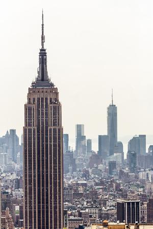 New York City Manhattan skyline luchtfoto met Empire State Building Redactioneel