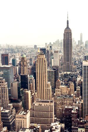 New York City Manhattan skyline luchtfoto met Empire State Building Stockfoto