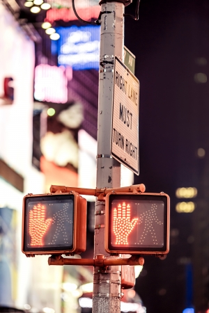 dont walk: Dont walk New York traffic sign with illuminated and blurred background Stock Photo