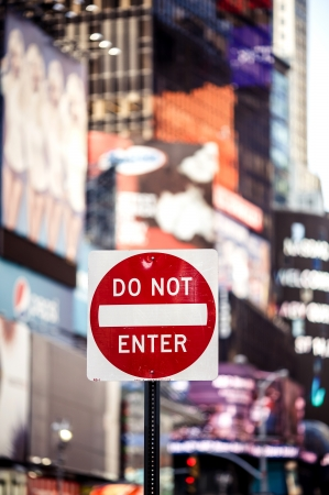 do not enter warning sign: Do not Enter New York traffic sign with illuminated and blurred background