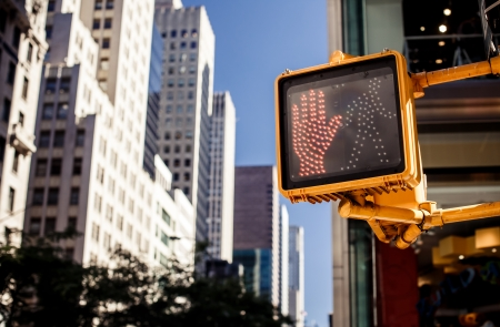 dont: Dont walk New York traffic sign with illuminated and blurred background Stock Photo