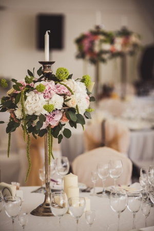 Decoration of wedding flowers. Part of interior