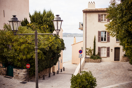 View of street in Saint Tropez, French Riviera photo