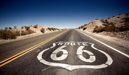 Famous Route 66 landmark on the road in Californian desert Stock Photo