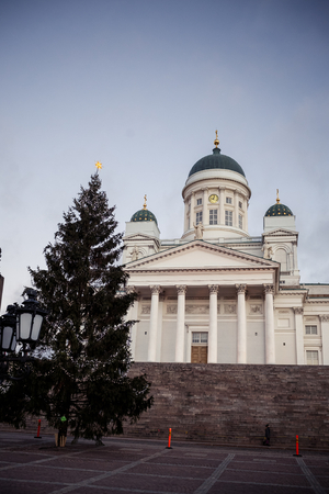 lutheran: View of Helsinki Cathedral at morning in Finland Stock Photo