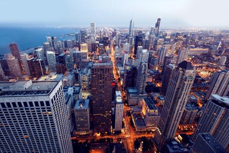 시카고의 도시. 시내 높이에서 거의 시카고의 공중보기.