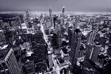 シカゴの街。高い場所からシカゴ ダウンタウン アット近付いからの眺め.