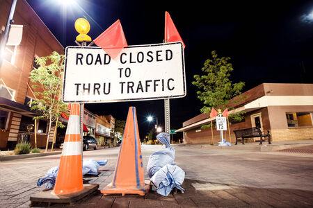 thru: Road closed to thru traffic sign, USA Stock Photo