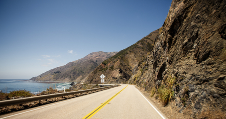 rocky road: Route 1, also known as the Pacific Coast Highway Stock Photo