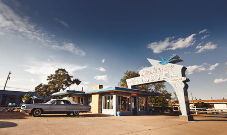 TUCUMCARI, NM - JULY 11: Blue Swallow Motel on Historic Route 66 on July 11, 2011 in Tucumcari, NM. The Blue Swallow has been serving travelers along the Mother Road since 1939.