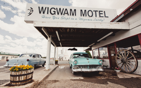 HOLBROOK - AUGUST 11: Wigwam hotel on Route 66 on August 11, 2012 in Holbrook, Arizona. Holbrook is a city in Navajo County, Arizona, United States