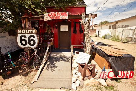 SELIGMAN - August 3: Old store Bostons Yard on August 3, 2012 in Seligman, Arizona. Bostons Yard is a historic small restaurant and roadside attraction along a part of what used to be Route 66, built in early 50s Editorial