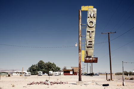 mojave: Hotel sign ruin along historic Route 66 in the middle of Californias vast Mojave desert. Stock Photo