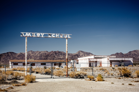 ghost town: Abandoned school on the Route 66, California, USA