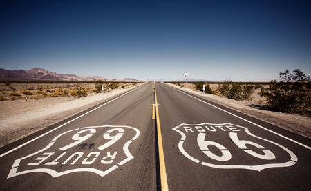 Famous Route 66 landmark on the road in Californian desert Stock Photo