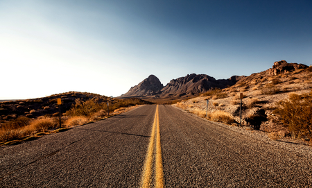 Pretty Empty Mojave Desert Highway in Southern California, USA. Stock Photo