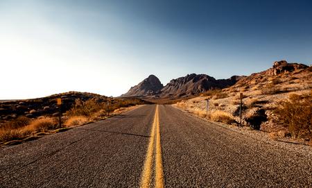 mojave: Pretty Empty Mojave Desert Highway in Southern California, USA. Stock Photo