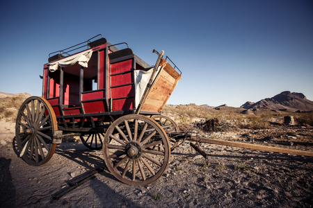 Old time horse drawn wagon in the desert town of Calico . An 1890s silver boom town in the mojave desert.