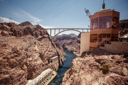 Hoover Dam in the Black Canyon of the Colorado River, between the US states of Arizona and Nevada. photo
