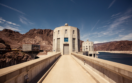 hoover: Hoover Dam in the Black Canyon of the Colorado River, between the US states of Arizona and Nevada.