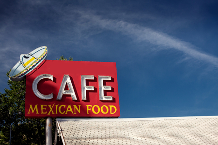 americana: Cafe mexican food sign along historic Route 66 in Arizona. Vintage Processing.