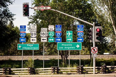 Route 66 intersection signs somewhere in Arizona