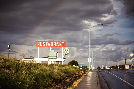 Restaurant sign along historic Route 66 in Texas. Vintage Processing. photo