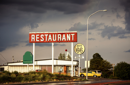 dive trip: Restaurant sign along historic Route 66 in Texas. Vintage Processing. Stock Photo