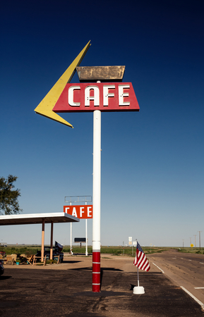 Cafe sign along historic Route 66 in Texas. Vintage Processing. photo