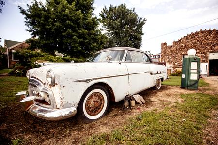 Old retro car on the Route 66 in Kansas, USA photo