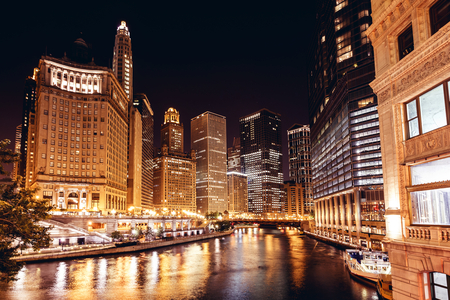 Chicago at night, Illinois, USA, view from the bridge photo