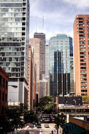 View of Chicago city during sunny day, Illinois, USA photo