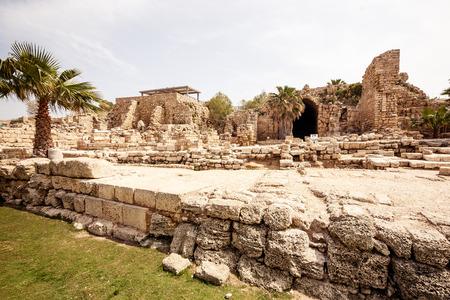 Ancient Roman ruins in Israel (Caesarea Maritima) photo