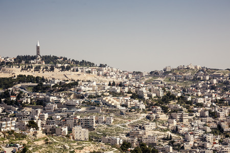 View of holy city Jerusalem at evening , Israel photo