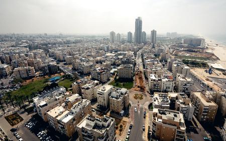 Luchtfoto van Tel Aviv stad, Israël Stockfoto