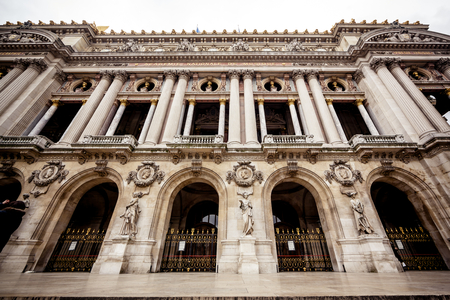 busts: View of Grand Opera, Paris. Front Facade Stock Photo