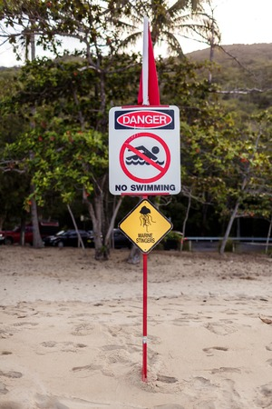 stinger: An Australian marine stinger warning sign, Queensland Stock Photo